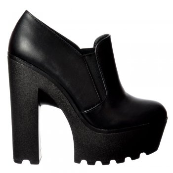 Shoekandi Cleated Sole Platform High Heels - All Occasion Shoe - Black