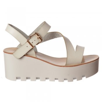 Shoekandi Cleated Sole Summer Low Wedge Sandals - Black, White