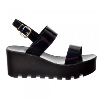 Shoekandi Cleated Sole Summer Platform Wedge Sandals - Black Patent, Silver Hologram