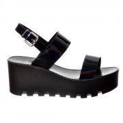 Cleated Sole Summer Platform Wedge Sandals - Black Patent, Silver Hologram