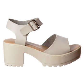 Shoekandi Cleated Sole Summer Sandals Low Block Heel  - Black, White