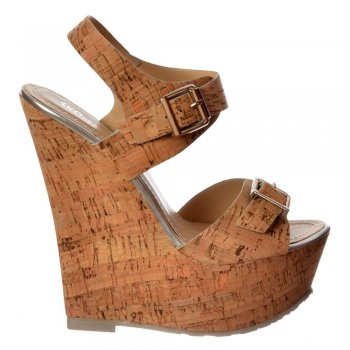 Shoekandi Cork Nude Wedge Peep Toe Platforms - Double Buckle Straps - Cork Silver