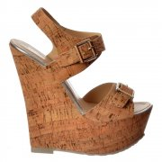 Cork Nude Wedge Peep Toe Platforms - Double Buckle Straps - Cork Silver