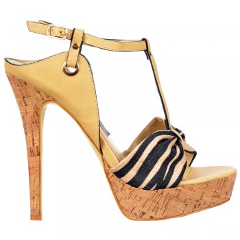 Shoekandi Cork Platform T Bar Stiletto Sandal - Fabric Toe Detail - Beige