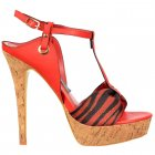 Cork Platform T Bar Stiletto Sandal - Fabric Toe Detail - Red