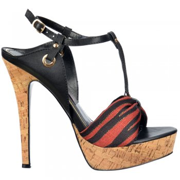 Shoekandi Cork T Bar Platform Stiletto Sandal - Fabric Toe Detail - Black