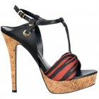 Cork T Bar Platform Stiletto Sandal - Fabric Toe Detail - Black