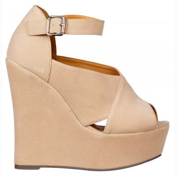 Shoekandi Criss Cross Wedges - Ankle Strap - Nude Suede