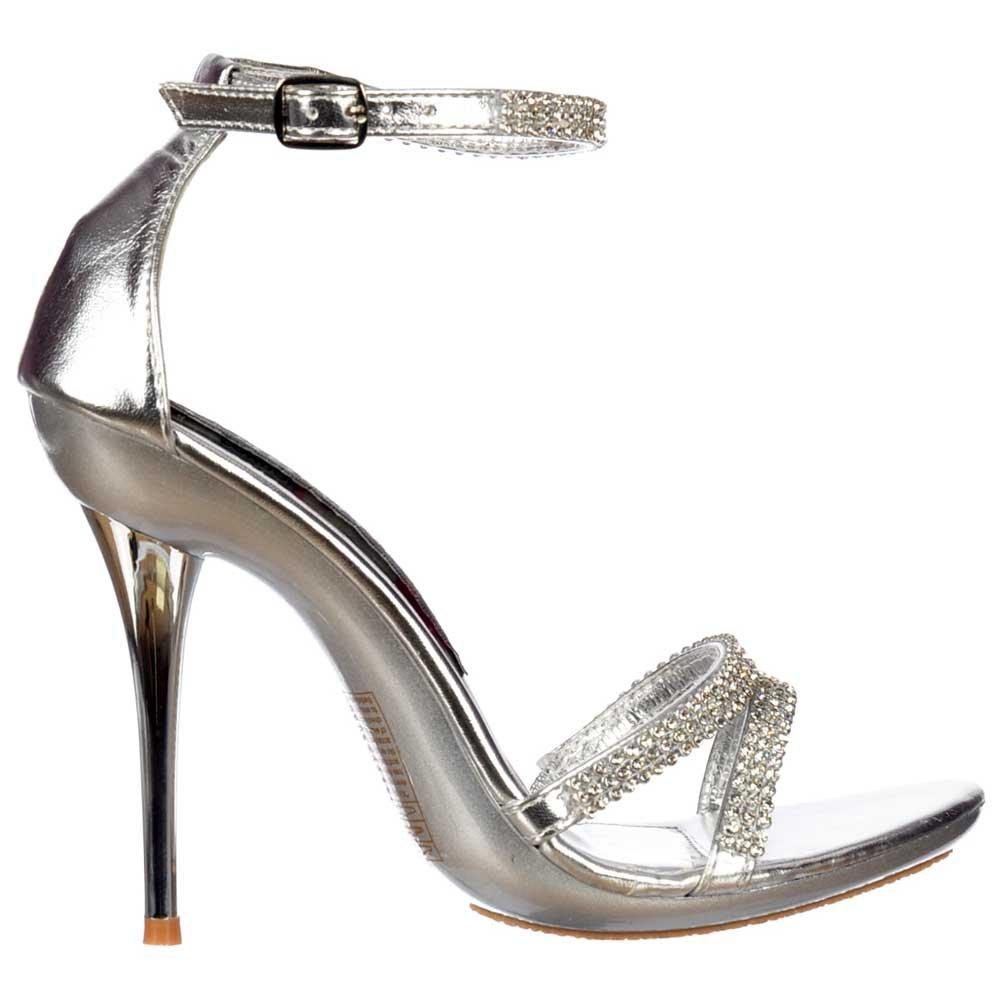 c426fcf088e Shoekandi Crystal Diamante Ankle Strap High Heel Stiletto Shoes - Silver