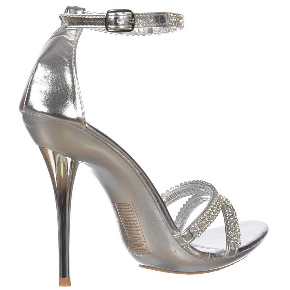 bcf16081402 ... Shoekandi Crystal Diamante Ankle Strap High Heel Stiletto Shoes - Silver  ...