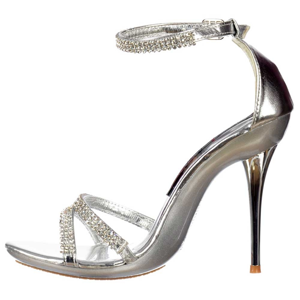621c178d08bcf6 Silver High Heels With Ankle Strap