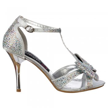Shoekandi Crystal T-Bar Mid Heel - Diamante Jewelled Bow  - Silver Diamante