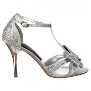 Crystal T-Bar Mid Heel - Diamante Jewelled Bow  - Silver Diamante