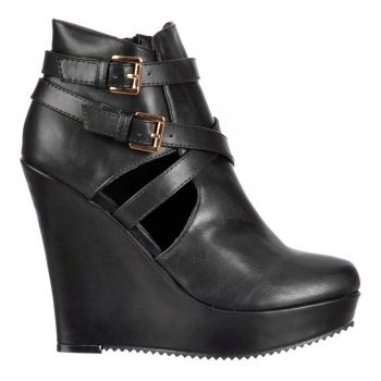 Shoekandi Cut Out Ankle Chelsea Boot - Wedge Heel - Black