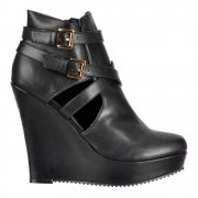 Cut Out Ankle Chelsea Boot - Wedge Heel - Black