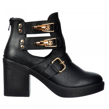 Shoekandi Cut Out Chelsea Ankle Boot - Cut Out Sides Buckles Studs - Black , Black Croc Patent