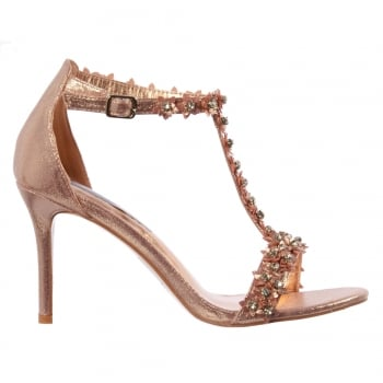 Shoekandi Diamante and Flower Strappy Heeled Sandal
