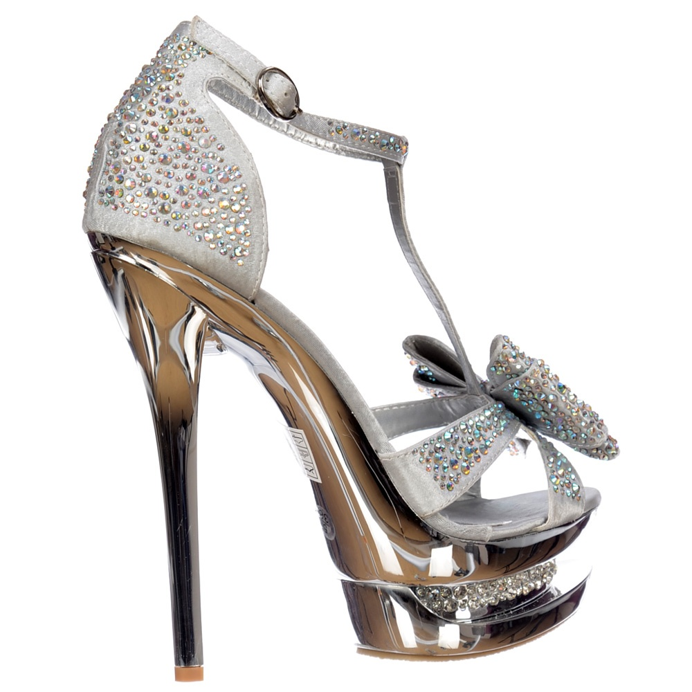 shoekandi diamante crystal jewelled bow high heel party shoe silver shoekandi from shoekandi uk. Black Bedroom Furniture Sets. Home Design Ideas