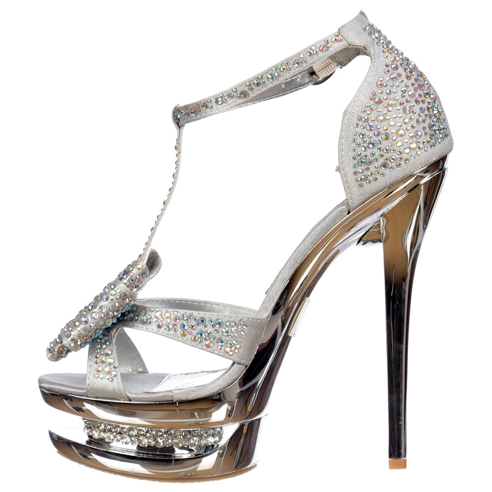 edc839f39f28 ... Shoekandi Diamante Crystal Jewelled Bow High Heel Party Shoe - Silver  ...