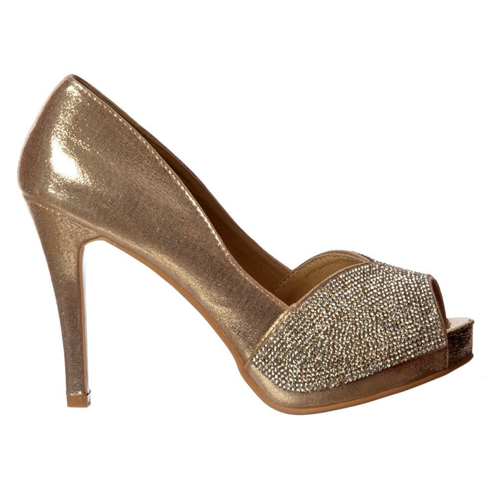 Shoekandi Diamante Encrusted Peep Toe Mid Heel Party Shoe
