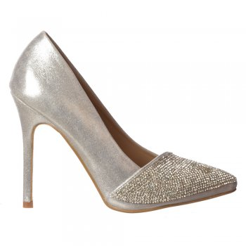 Shoekandi Diamante Encrusted Pointed Toe Mid Heel Party Shoes - Silver, Black