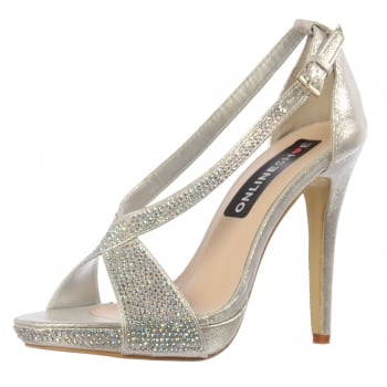 Shoekandi Diamante Party Shoe With Ankle Strap