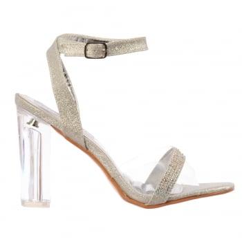 Shoekandi Diamante Strappy Perspex Mid Heel Party Sandal