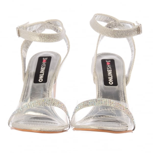 8ee332d9e6db Shoekandi Diamante Strappy Perspex Mid Heel Party Sandal. ‹ View All  Shoekandi; ‹ ...