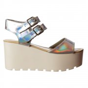 Double Buckle Summer Sandals - Chunky Wedge - Silver Hologram