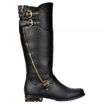 Shoekandi Dual Gold Buckle Straps, Gold Zip /Heel Biker Boots - Black