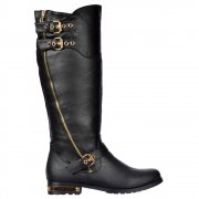 Dual Gold Buckle Straps, Gold Zip /Heel Biker Boots - Black