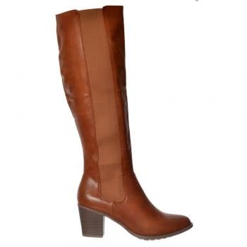 Shoekandi Elasticated Stretch Knee High Low Heel Winter Boot - Black, Tan