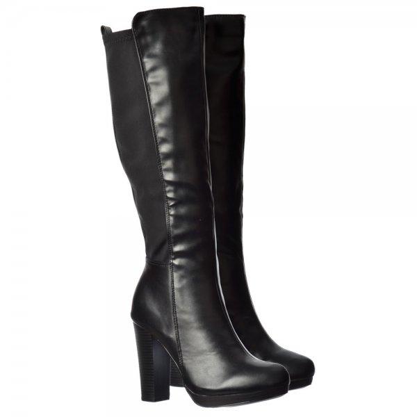 shoekandi elasticated stretch mid heel knee high winter