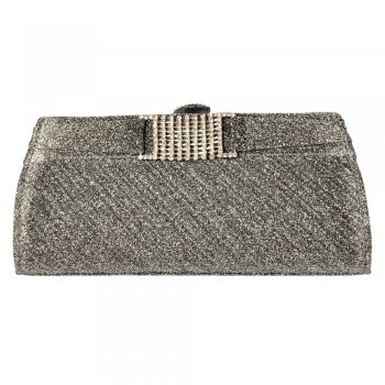 Shoekandi Evening Clutch Handbag Purse - Shiny Glitter Diamante Detail - Gold Glitter, Silver Glitter