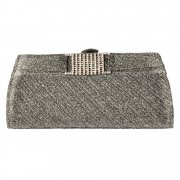 Evening Clutch Handbag Purse - Shiny Glitter Diamante Detail - Gold Glitter, Silver Glitter