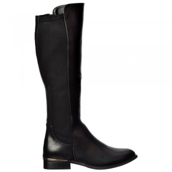 Shoekandi Extra Wide Calf Stretch Knee High Flat Riding Boot - Gold Heel Detail - Black, Dark Brown