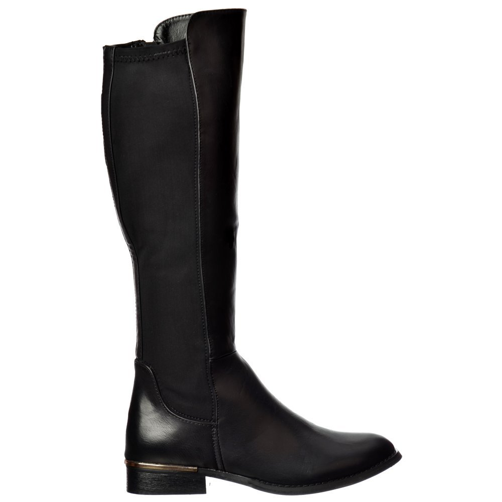 4586c66cb1c Extra Wide Calf Stretch Knee High Flat Riding Boot - Gold Heel Detail -  Black,