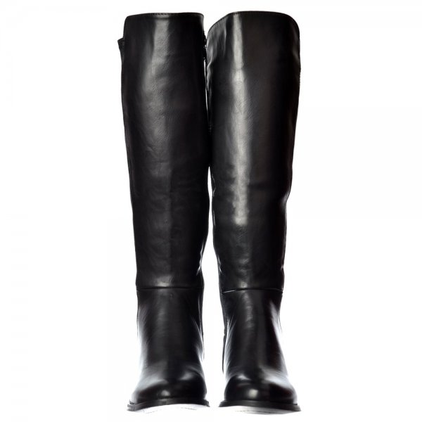 56070a6fe20b Shoekandi Extra Wide Calf Stretch Knee High Flat Riding Boot - Gold Heel  Detail - Black. ‹ View All Shoekandi  ‹ ...