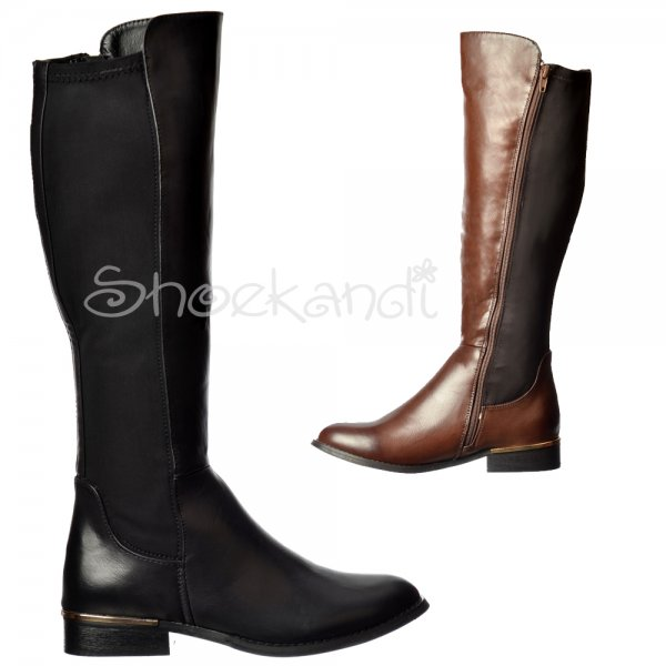 Shoekandi Extra Wide Calf Stretch Knee High Flat Riding Boot ...