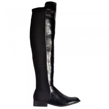 Shoekandi Extra Wide Stretch Thigh High Over The Knee Flat Riding Boot - Black PU