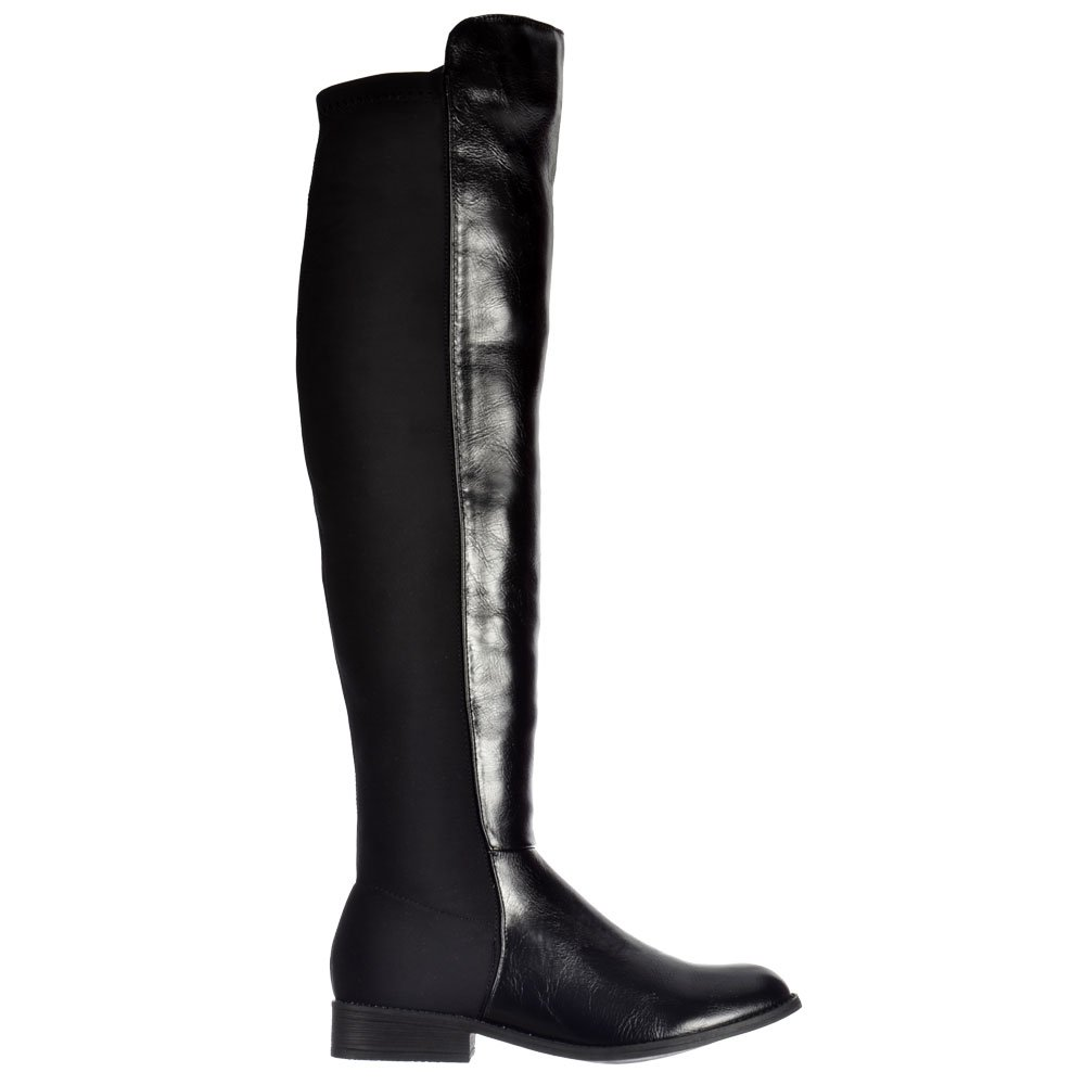 f397247b824b Shoekandi Extra Wide Stretch Thigh High Over The Knee Flat Riding Boot -  Black PU