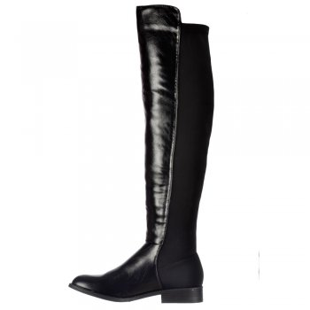 8a04fdcc9df7 Shoekandi Extra Wide Stretch Thigh High Over The Knee Flat Riding Boot -  Black PU - Shoekandi from ShoeKandi UK