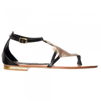 Shoekandi Flat Flatform Crystal Diamante Embellished Sandals - Tan, Black