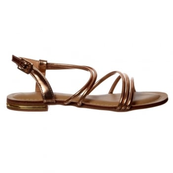 Shoekandi Flat Summer Dress Sandal - Embellished Finish - Rose Gold, Silver