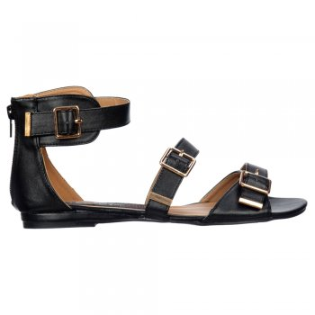Shoekandi Flat Summer Sandal - Gladiator Flatform Three Buckle Peep Toe - Black