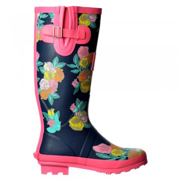 Shoekandi Flat Wellie Wellington Festival Walking Rain Boots - Assorted Colours
