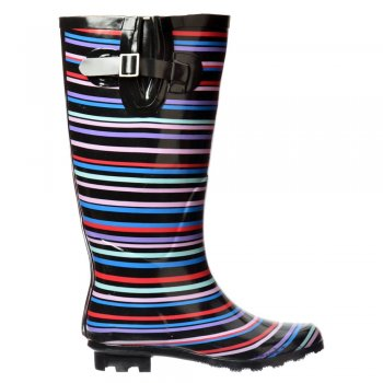 Shoekandi Flat Wide Calf Wellie Wellington Festival Rain Boots - Multi Striped / Black Patent