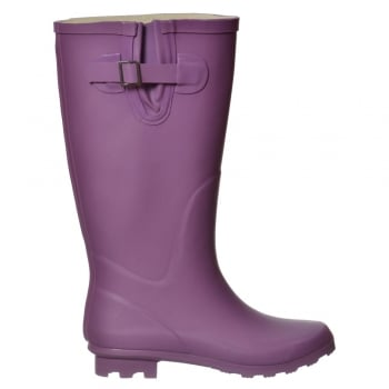 Shoekandi Flat Wide Calf Wellie Wellington Festival Rain Boots - Navy, Purple, Raspberry