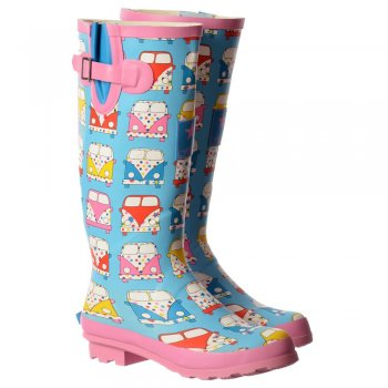 Shoekandi Funky Flat Wellie Wellington Festival Rain Boots - Assorted Colours