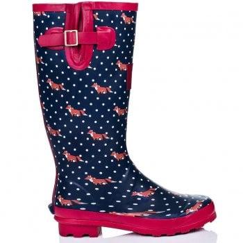 Shoekandi Funky Flat Wellie Wellington Festival Rain Boots - Assorted Colours